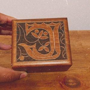Vintage handcarved wood jewelry box monogram J